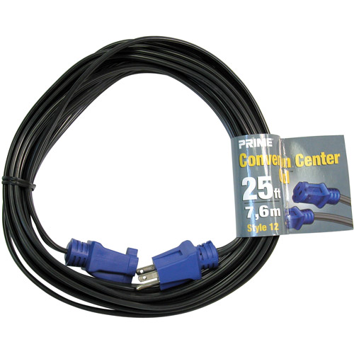 Prime 12 SPT-3 Black Convention Center Cord With NEMA 5-15P and R, Blue, 25-Feet