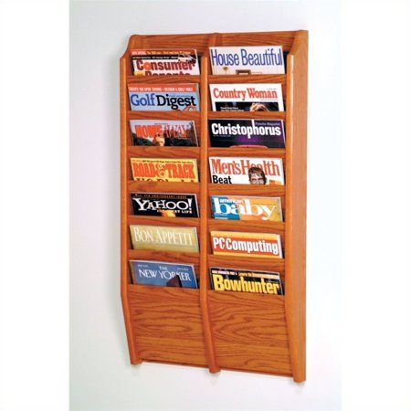 Pemberly Row 14 Pocket Medium Oak Wall Mount Magazine Rack