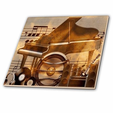 3dRose Print of Retro Speakers Piano Guitar And Records - Ceramic Tile,