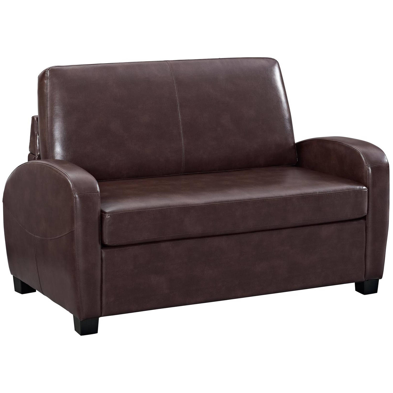 Convertible Sofa Leather Couch Twin Bed Mattress Sleeper Small Loveseat Brown Ebay