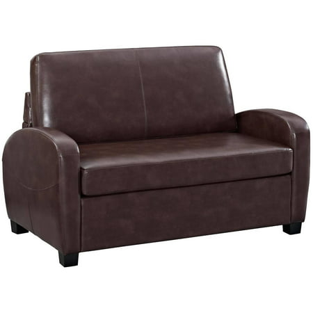 Mainstays 54 Quot Faux Leather Loveseat Sleeper Brown Best