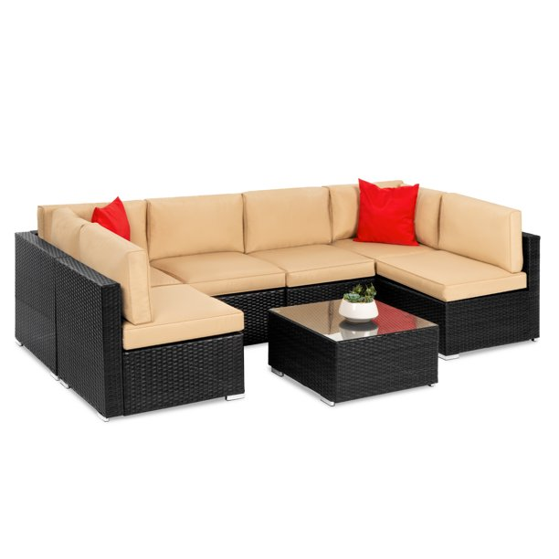 Best Choice Products 7-Piece Modular Outdoor Patio Furniture Set, Wicker Sectional Sofas w/ Cover, Seat Clips – Black