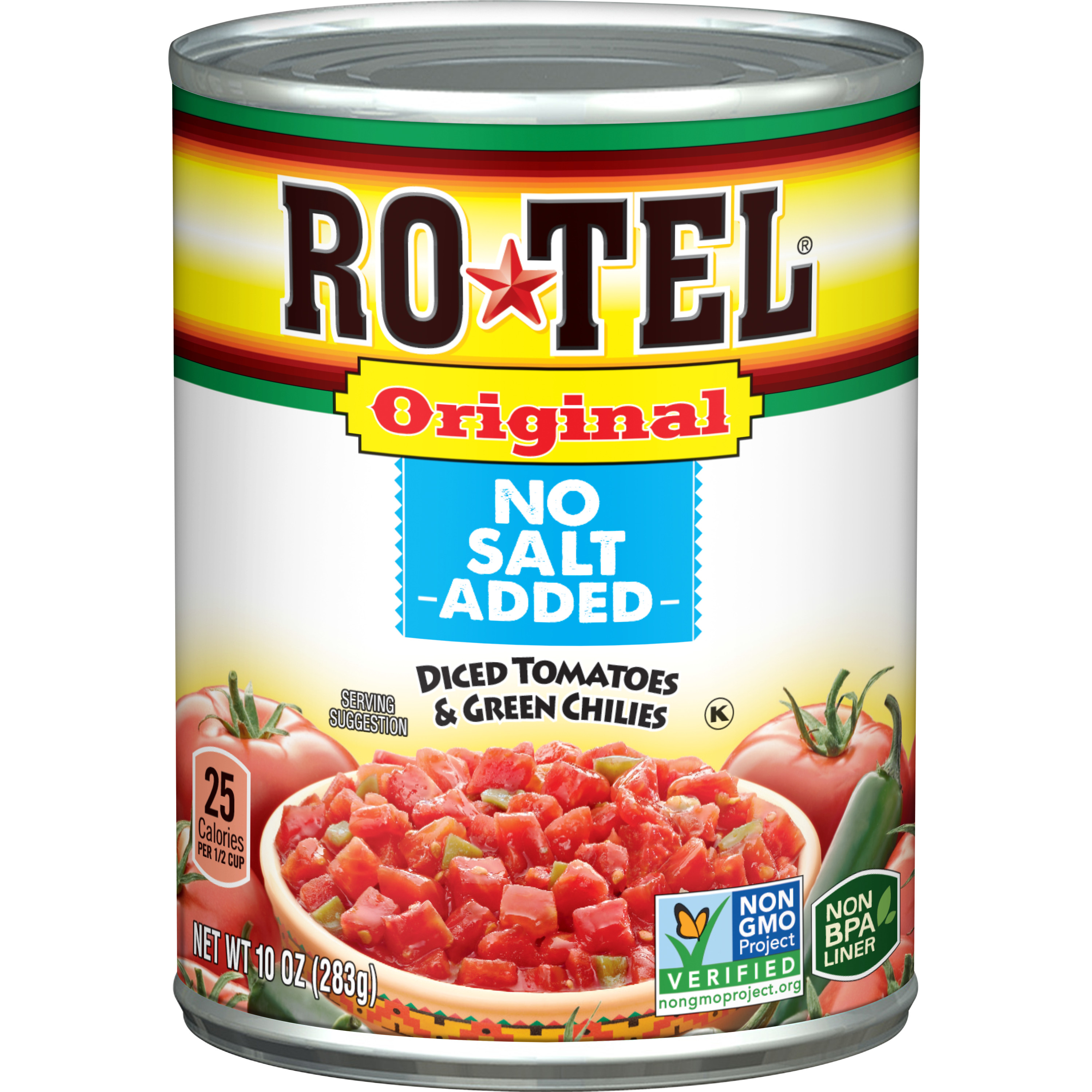 Ro*Tel Original No Salt Added Diced Tomatoes & Green Chilies, 10 Oz