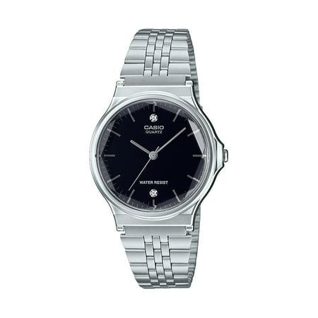 Casio Men's Diamond Dial Stainless Steel Bracelet Watch Casio Mens Active Dial