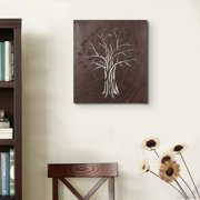 Adeco Trading Decorative Rusted Laser Cut Tree Iron Widget Wall Decor