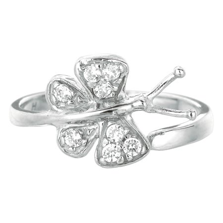Ladies Sterling Silver Shiny White CZ Butterfly Adjustable Toe Ring