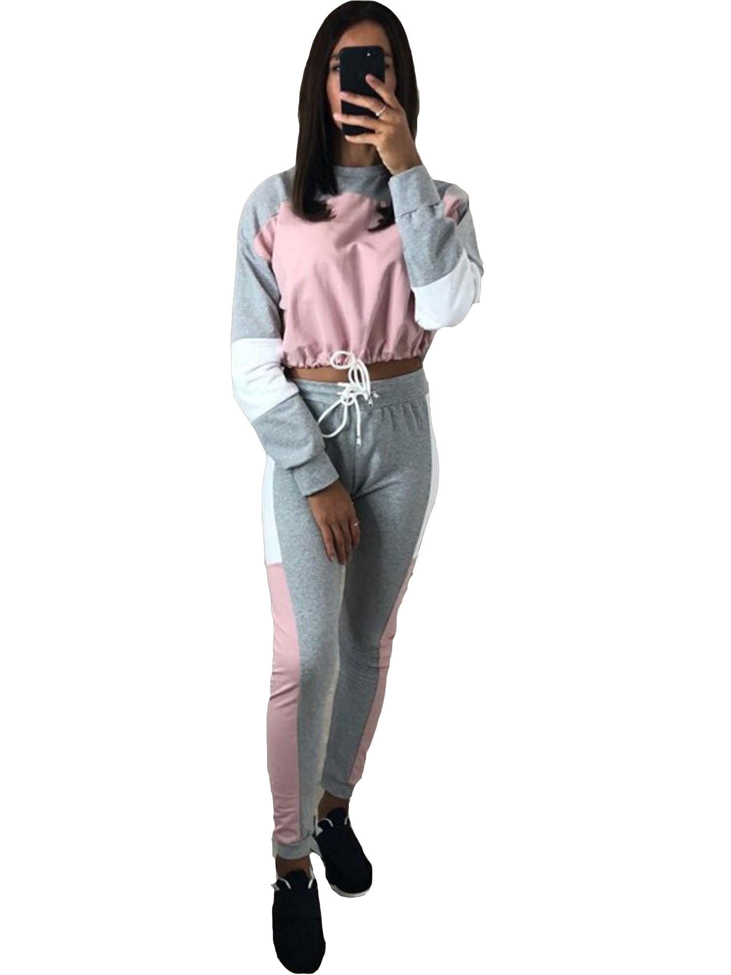 429bd7e4bb 2PCS Women's Activewear Tracksuits Sets Long Sleeve Sweatshirt Crop Top  Pants Outfits Lounge Wear Patchwork Gym Jogging Sportswear Joggers Casual  Suit