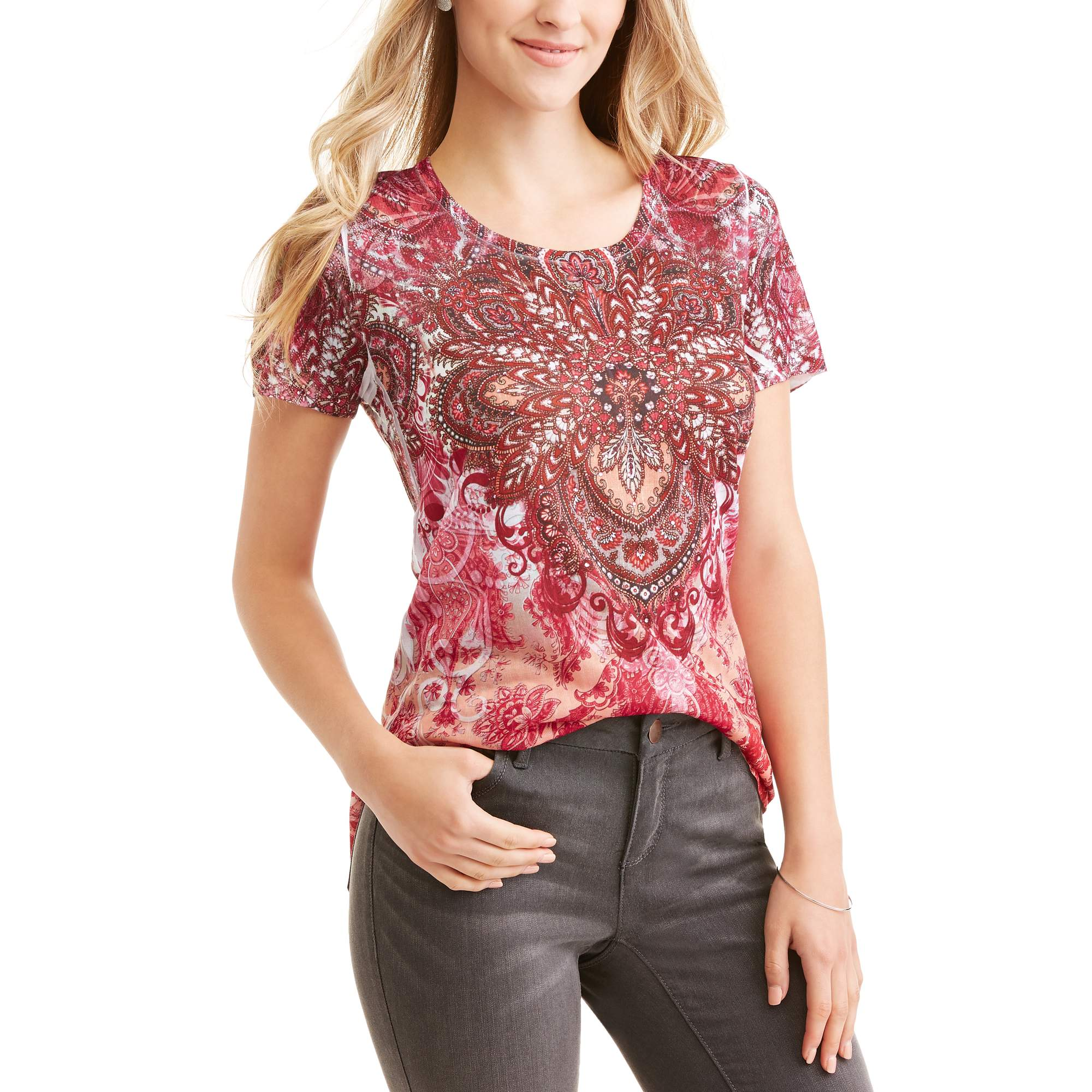 Tru Self Women's Short Sleeve Scoopneck Allover Print Tunic