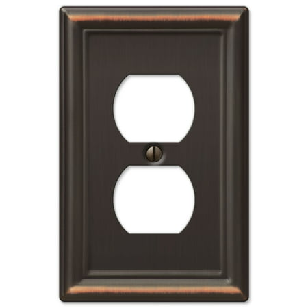 AmerTac 149DDB Chelsea Steel Single Duplex Wallplate, Aged Bronze