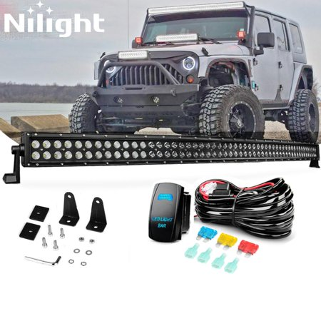 Nilight 54 INCH 312 W Black Curved LED Light Bar with Wiring Harnesss Spot Flood Combo Work Light Bar Fog Driving Lamp Off road Lights Fit for SUV UTE ATV