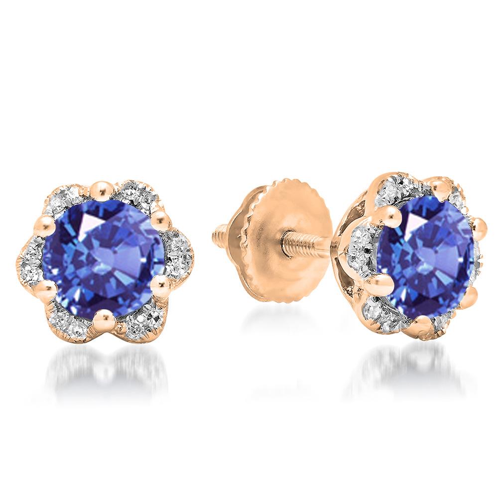 1.95 Carat (ctw) 18K Rose Gold Round Cut Tanzanite & White Diamond Ladies Flower Shape Cluster Fashion Stud Earrings 2 C