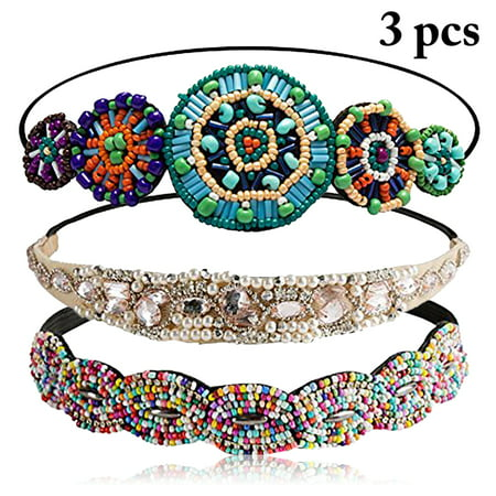 Knit Hair Band (3PCS Hair Bands, Justdolife Fashion Rhinestones Beaded Elastic Headbands Hair Styling Accessories for Girls Teen Women)