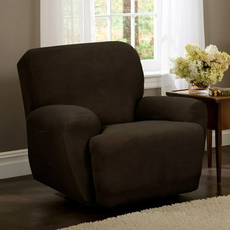 Zenna Home Small Rectangle Patterned 4-Piece Recliner Stretch Slipcover, Chocolate