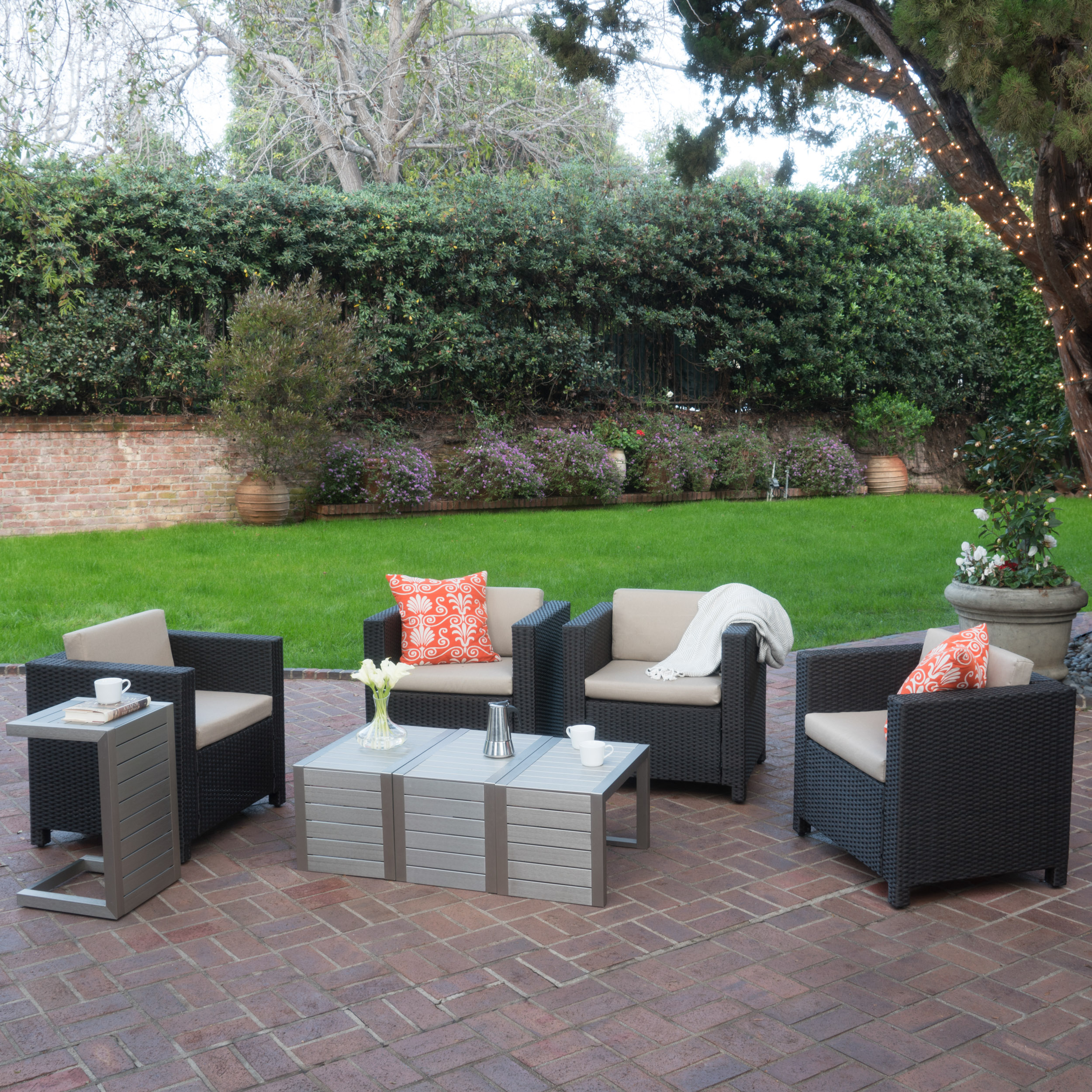 Cascada Outdoor 4 Piece Wicker Club Chairs with Cushions and C-Shaped Tables Set, Silver, Dark Brown, Beige