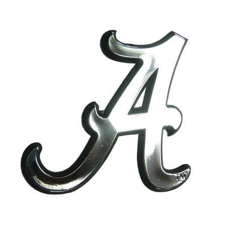 Alabama Crimson Tide Silver Auto Emblem Decal Sticker (Alabama Crimson Tide Silver Auto)