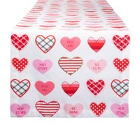 DII CAMZ11181 100% Cotton, Machine Washable, Printed Kitchen Table Runner for Mother's, Valentine's Day and Everyday Use, 14x72, Sweet Hearts