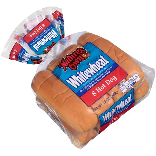 Nature's Own Whitewheat Hot Dog Buns, 8 ct, 13 oz
