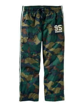 OshKosh B'gosh Little Girls' Jersey-Lined Logo Active Pants, Green Camo, 4 Kids