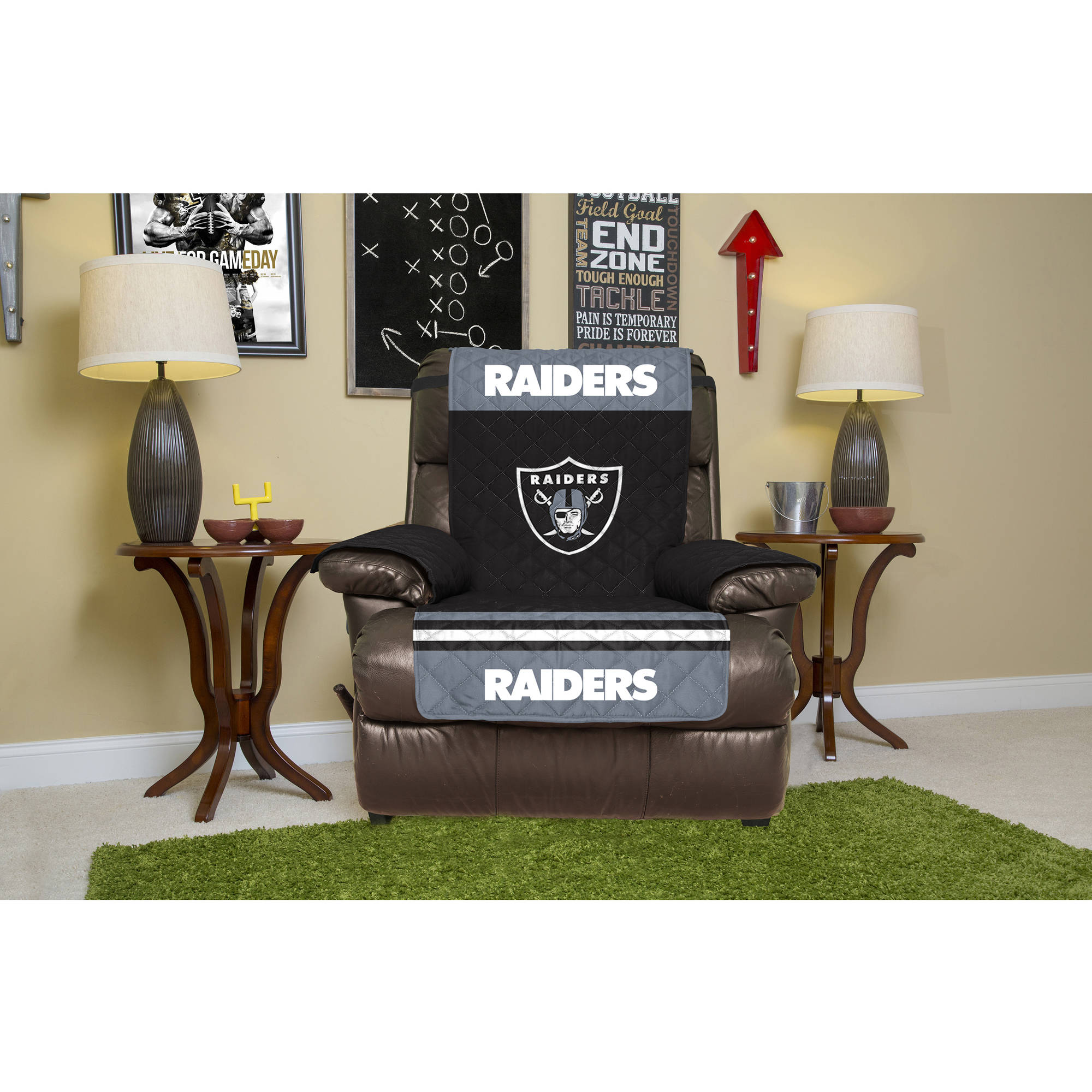 NFL Licensed Furniture Protector, Recliner, Oakland Raiders