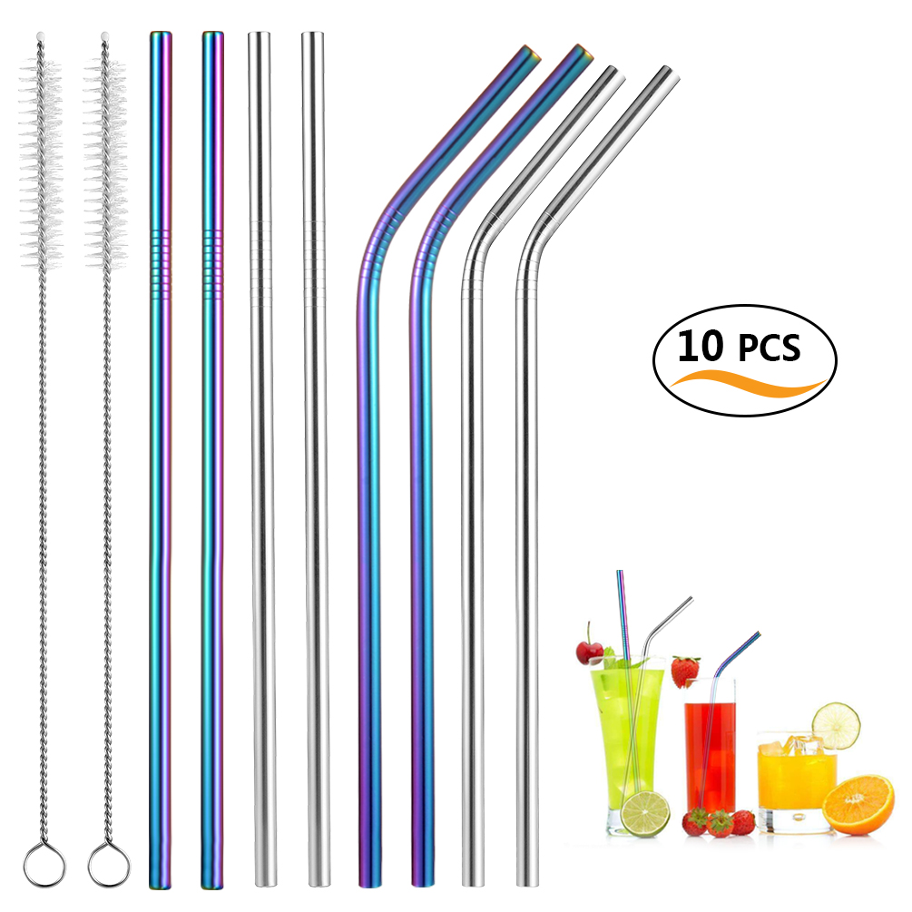 Uarter Reusable Straws Set Stainless Steel Straight Drinking Straws with 2 Cleaning Brushes, Set of 10