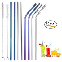 Reusable Straws Set, Uarter Stainless Steel Yerba Mate Drinking Straws Multi-purpose Drinking Suckers with Cleaning Brushes