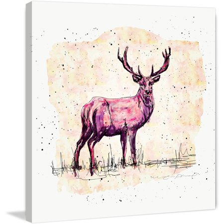 Marmont Hill  Cerf Rose Creme  By Marie Eve Pharand Painting Print On Wrapped Canvas