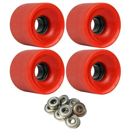 LONGBOARD CRUISER WHEELS 62mm x 51.5mm 83A 186C Red Stoneground ABEC 7 BEARINGS ()