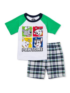 Paw Patrol Baby Toddler Boy Raglan T-shirt & Plaid Shorts, 2pc Outfit Set