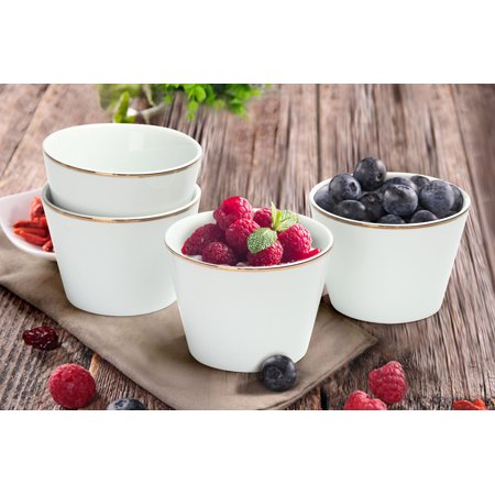 Mainstays Rose Gold Trim Set of 4 White Porcelain Fruit Bowls, Walmart Exclusive