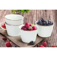 Mainstays Rose Gold Trim Set of 4 White Porcelain Fruit and Ice Cream Bowls, Walmart Exclusive