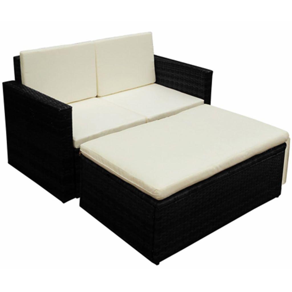 Anself Seven Piece Garden Furniture Set Poly Rattan