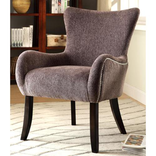 Casual grey living room accent chair with nailhead trim for Casual chairs for family room