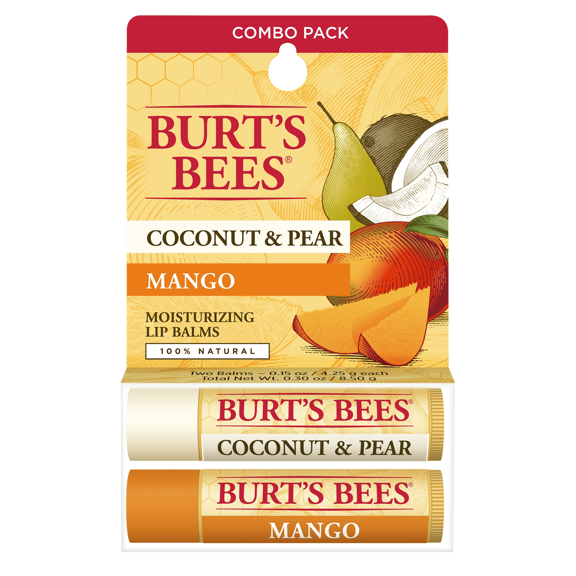 Burt's Bees 100% Natural Moisturizing Lip Balm, Coconut & Pear and Mango, 2 Tubes in Blister Box