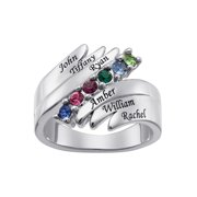 Family Jewelry Personalized Mother's Family Rhodium-Plated Birthstones and Names Ring