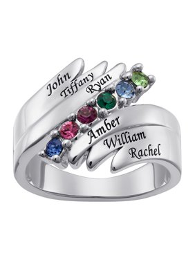 a9f7fb965 Product Image Family Jewelry Personalized Mother's Family Rhodium-Plated  Birthstones and Names Ring