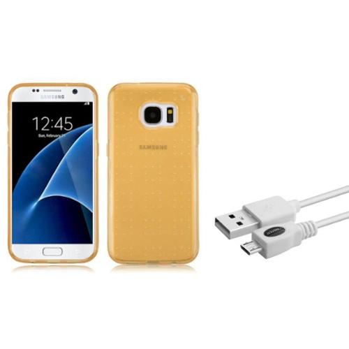 Insten TPU Case For Samsung Galaxy S7 - Gold (+ USB cable) (2-in-1 Accessory Bundle)
