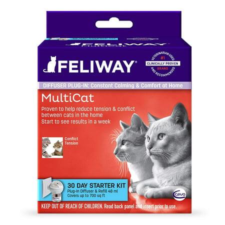 Feliway MultiCat 30 Day Starter Kit Plug-In Diffuser & Refill, 48