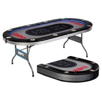 ESPN 10 Player Premium Foldable Poker Table with In-Laid LED Lights, Gray
