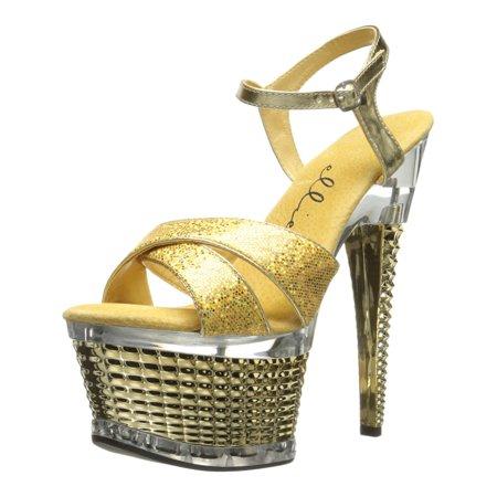 Women's 6 Inch Stiletto Heel Textured Platform Sandal Shoes Crossed Strap Gold (6 Inch Heel Platform Sandals)