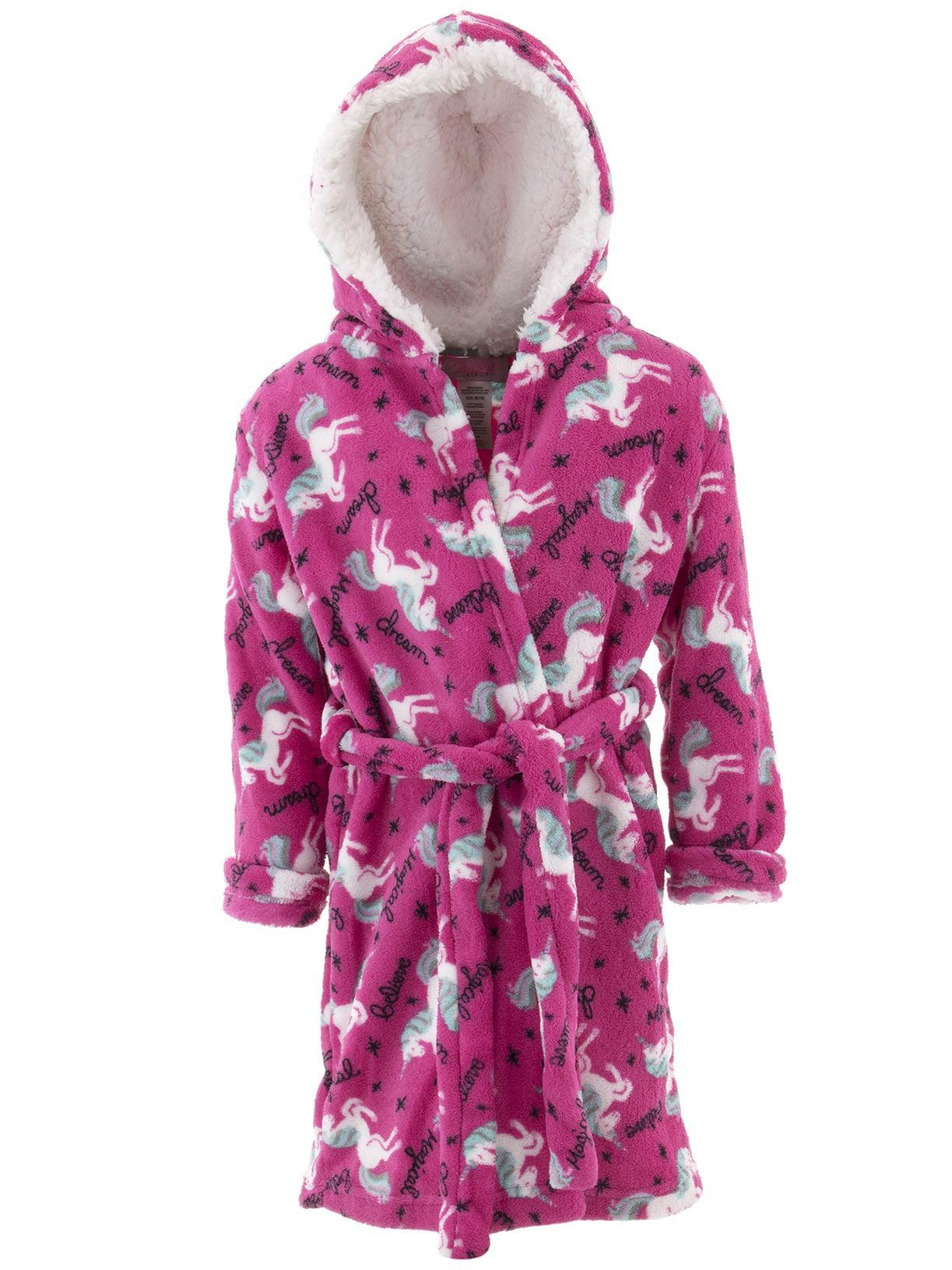Rene Rofe Girls Unicorn Pink Fleece Hooded Bathrobe