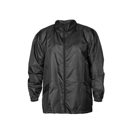 Windbreaker Rain Jacket Hooded - SIZING RUNS SMALL - Full Zip - Adjustable Draw Cord - Packable In Its Own Pocket ()