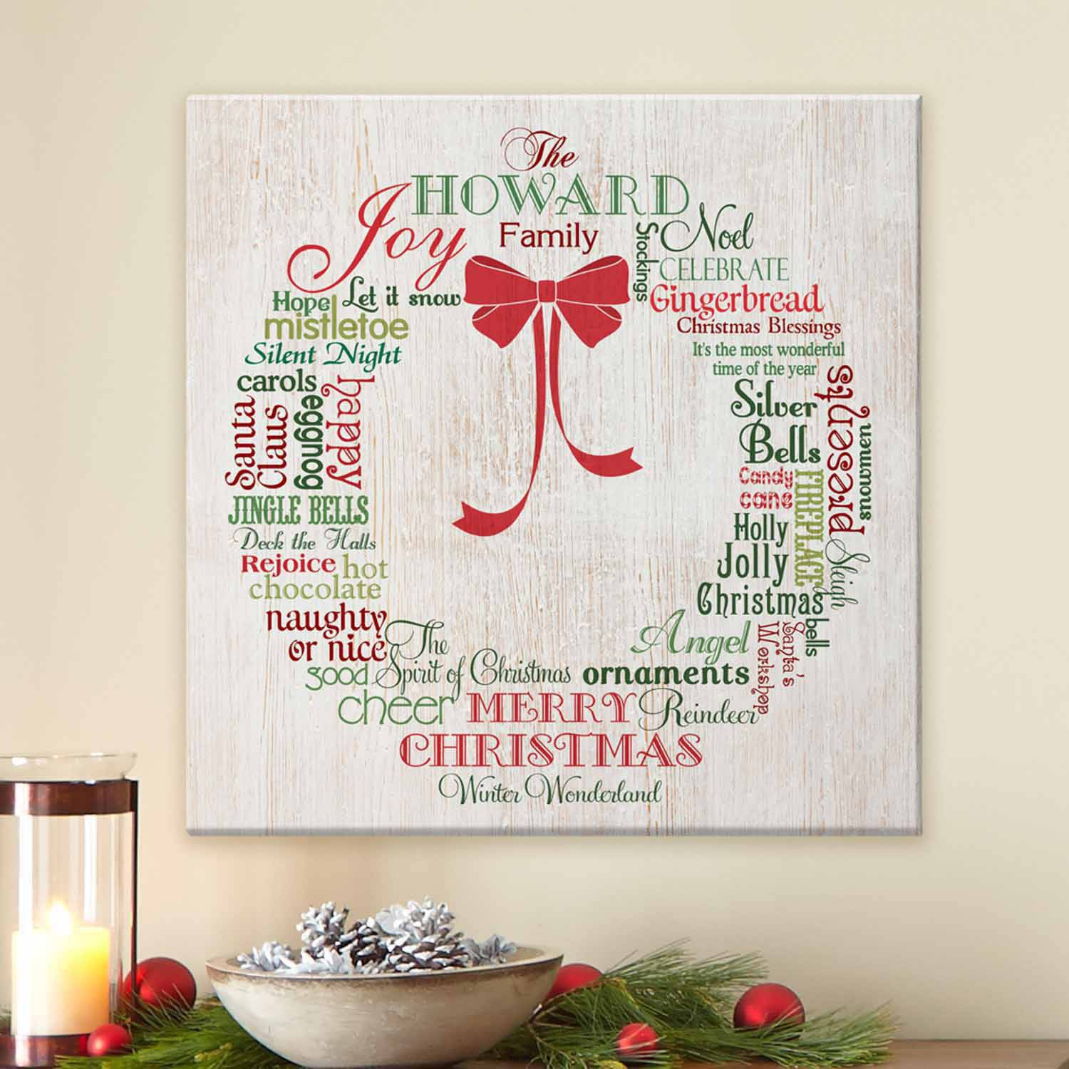 Personalized Christmas Wreath Canvas