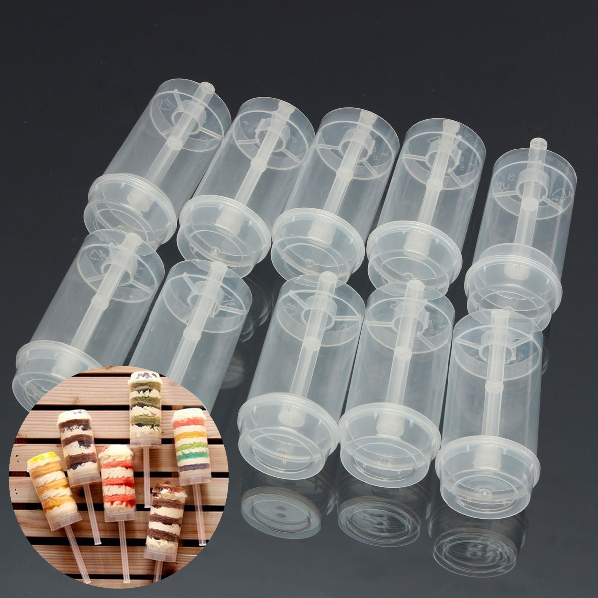 caketool;dessertcontainer;cakecontainer;pushuppop;cakecup;pushupcontainer;cakemaking;cakedecoratingsupplie;dessertdecorating;dessertpushuppop 10Pcs Plastic Push Up Pop Cake Containers Lids Shooters We