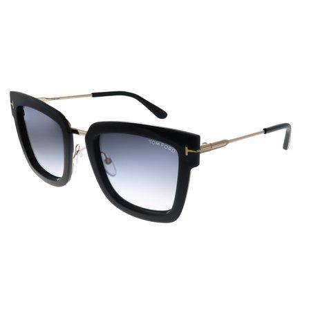 TOM FORD FT 0573 Sunglasses 01B Shiny Black / Gradient Smoke