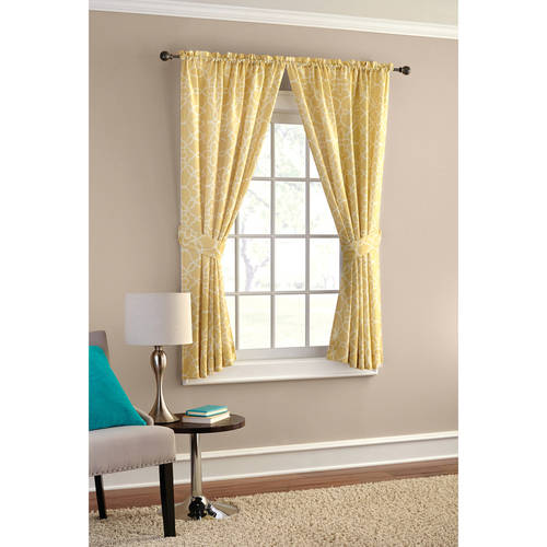 Elegant Mainstays Curve Trellis Heavyweight Window Curtain Panel, Set Of 4