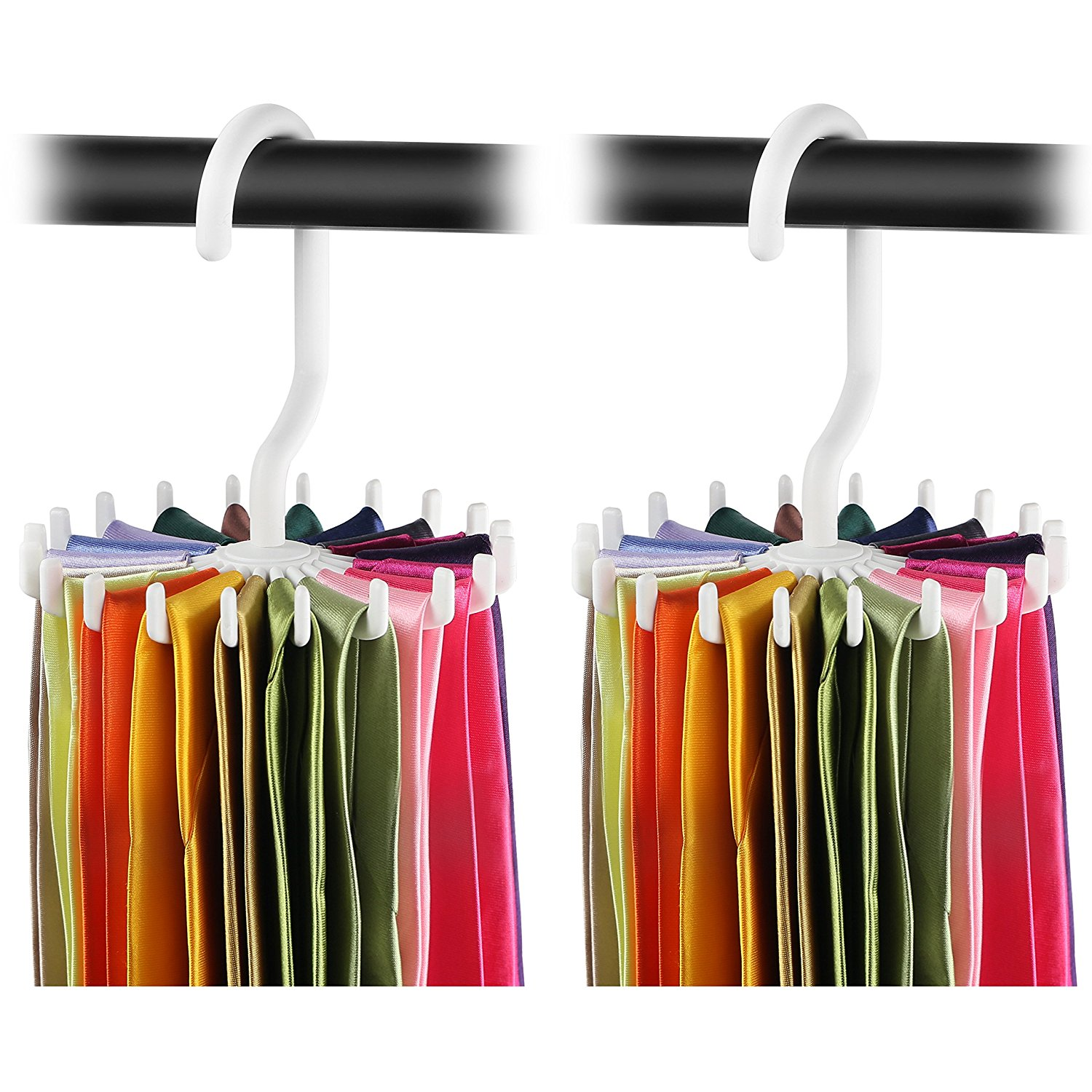 IPOW White Tie Rack Adjustable 360 Degree Rotation Twirl Sturdy Belt Hanger Non-slip Clips Durable Scarf Holder Organizer,Holds Securely up to 20 Ties,2 Pack,Large Size 5.3""