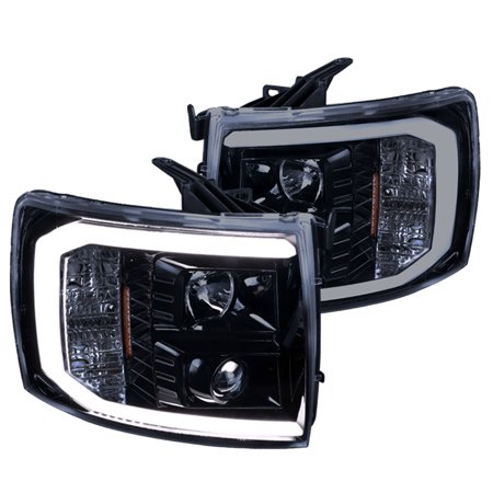 Spec-D Tuning For 2007-2014 Chevy Silverado Pickup Glossy Black LED DRL Projector Headlights Lamps 2008 2009 2010 2011 2012 2013