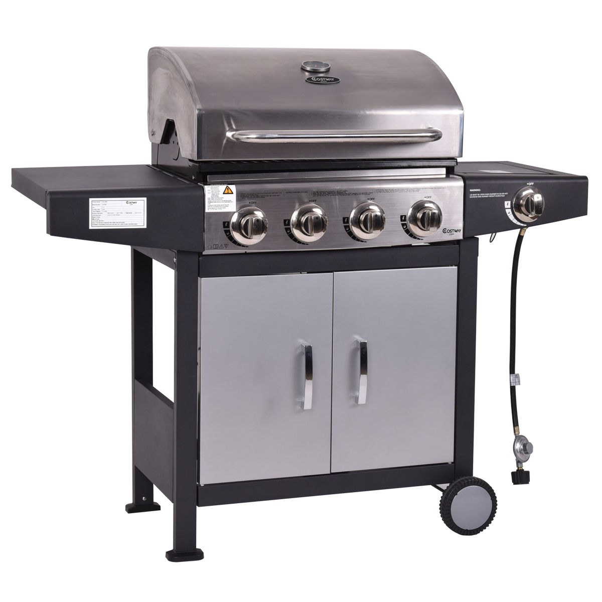 Costway 4 Burner Gas Porpane Grill Stainless Steel Outdoor Patio Cooking BBQ w/ Casters - image 2 of 9