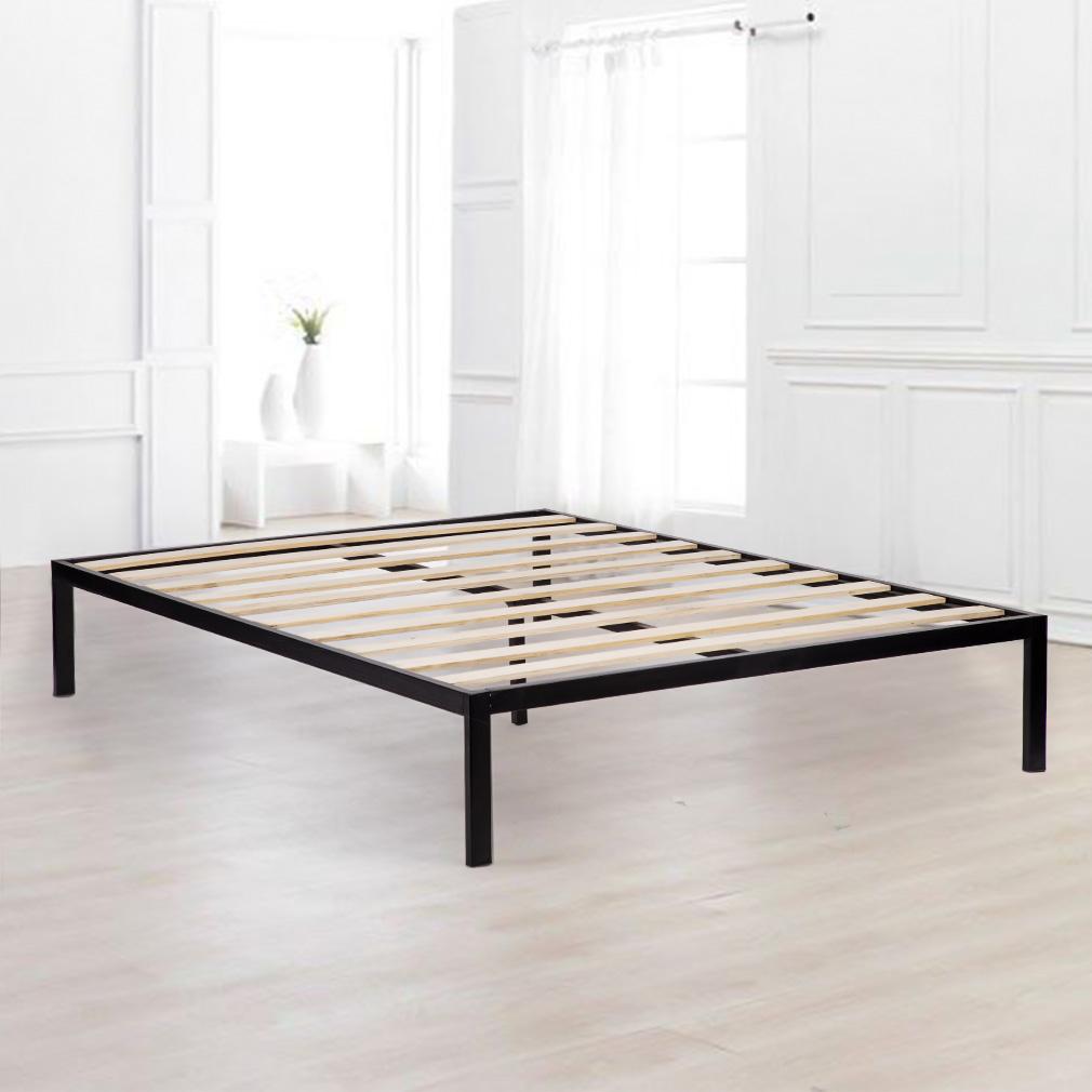 King Size Wooden Slat Edge Platform Metal Bed Frame Mattress