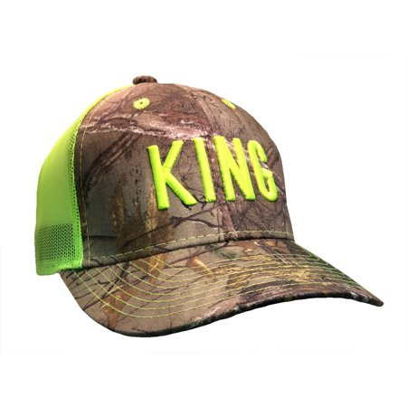 King Adult Adjustable Adjustable Fastening Strap Stap Mesh Hat, Realtree Camo with Neon Green